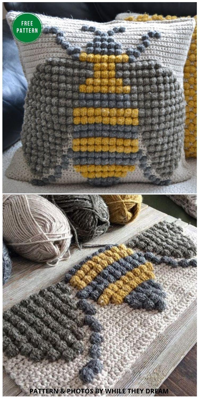 Crochet Bumble Bee Pillow - 5 Bright & Free Crochet Bee Pillow Patterns