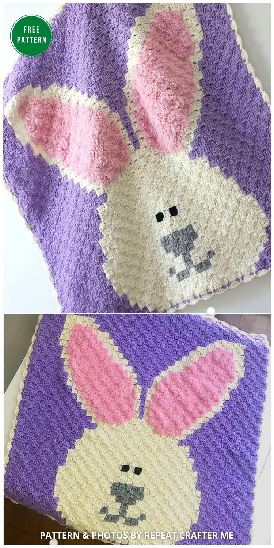 Crochet Bunny C2C Blanket - 12 Gorgeous Free Easter Blanket Crochet Patterns