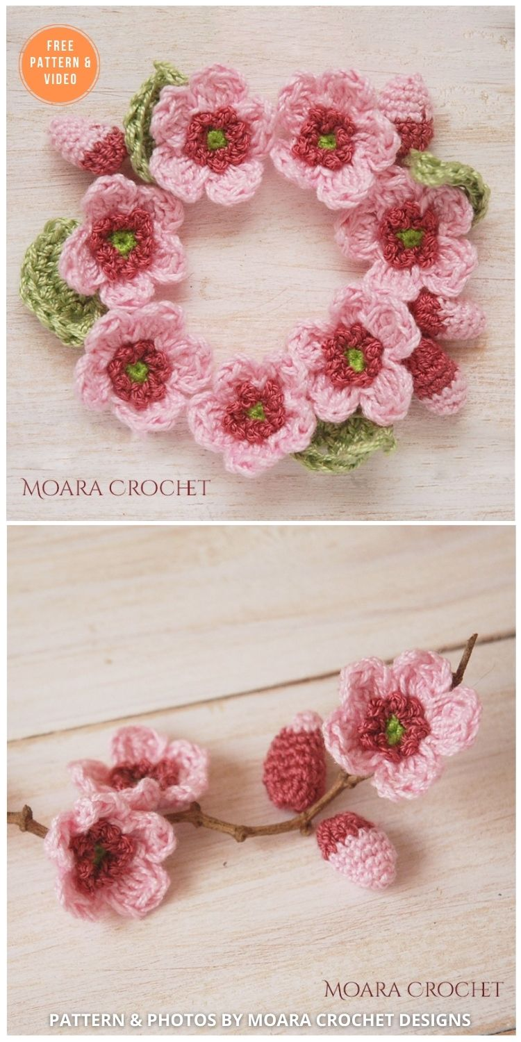 Crochet Cherry Blossom - 12 Beautiful Spring Flower Crochet Patterns