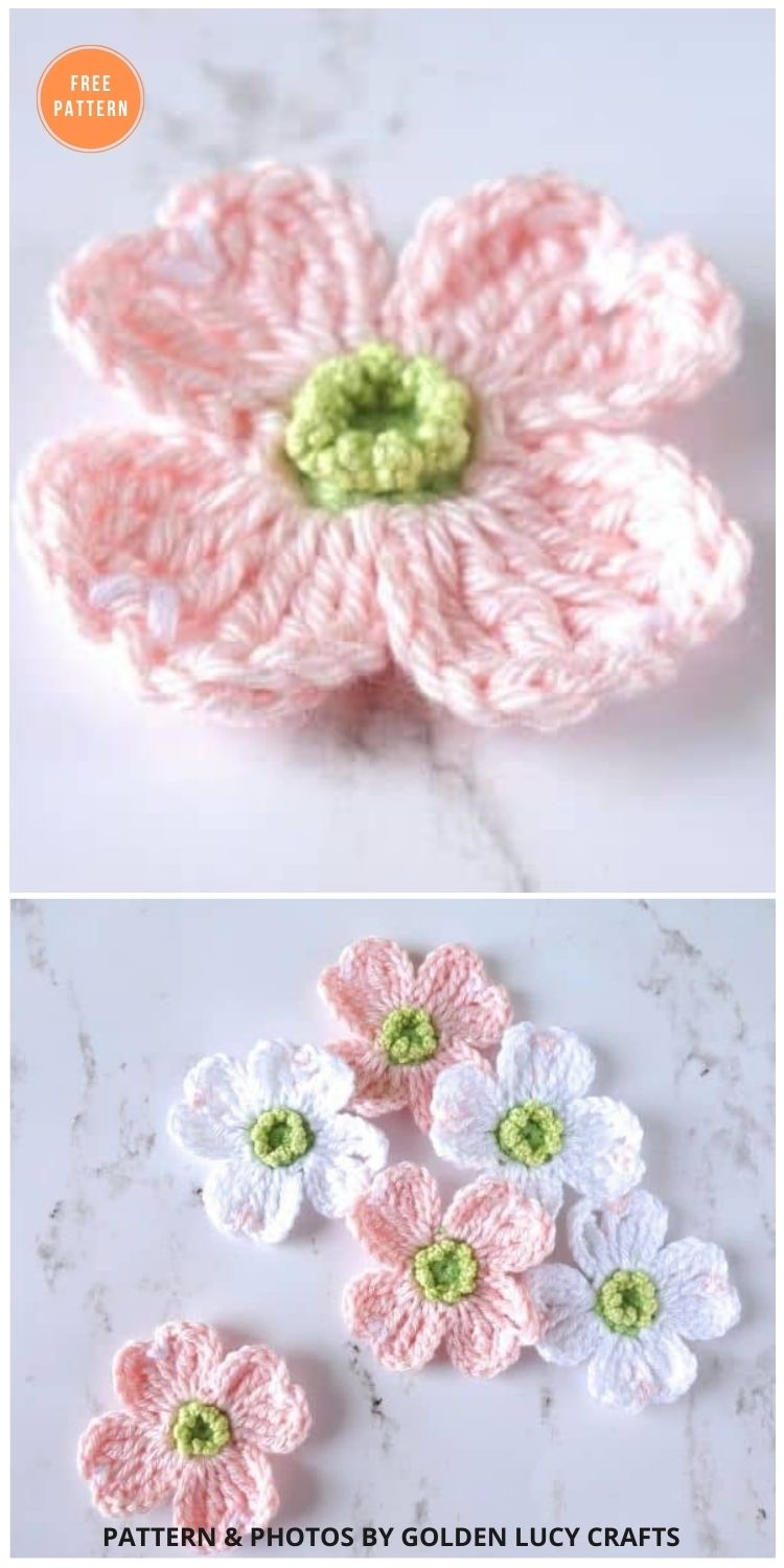 Crochet Dogwood Flower Pattern - 12 Beautiful Spring Flower Crochet Patterns