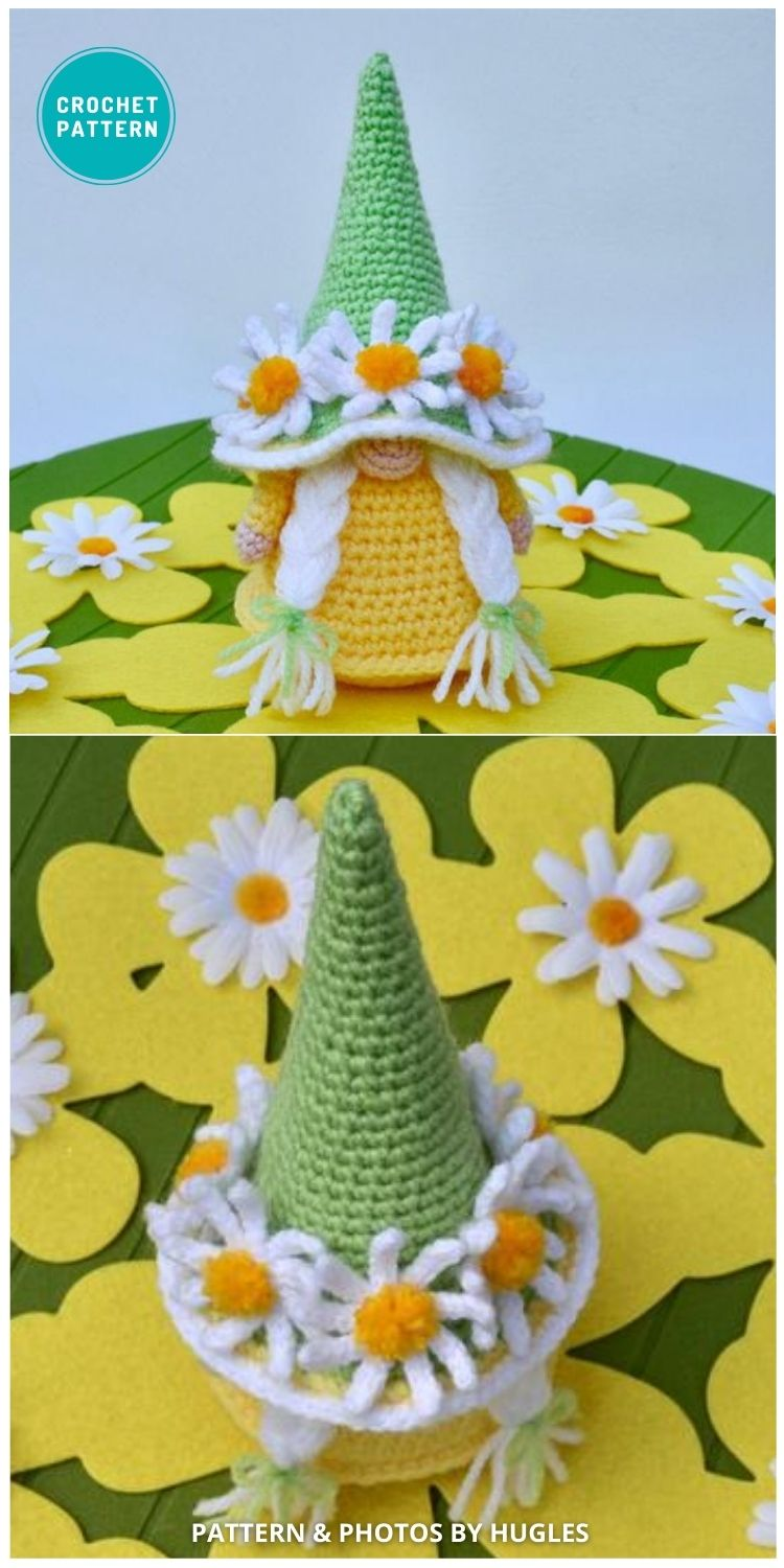 Crochet Gnome in Hat with Daisies Pattern - 8 Gorgeous Spring Easter Gnomes Crochet Patterns