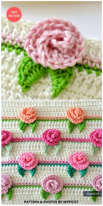 Crochet Rosebud Stitch - 12 Beautiful Crochet Flower Stitches For Blankets