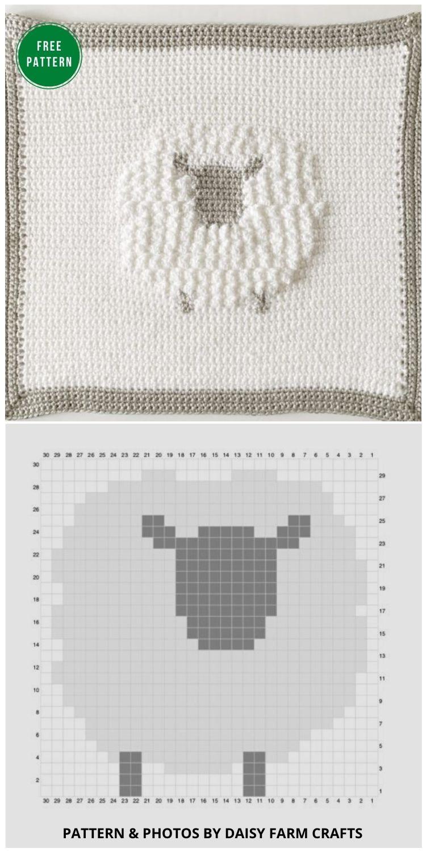 Crochet Sheep Baby Blanket - 12 Gorgeous Free Easter Blanket Crochet Patterns