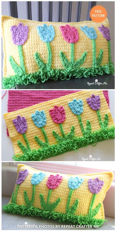 Crochet Tulip Pillow - 14 Free Crochet Spring Pillow Patterns