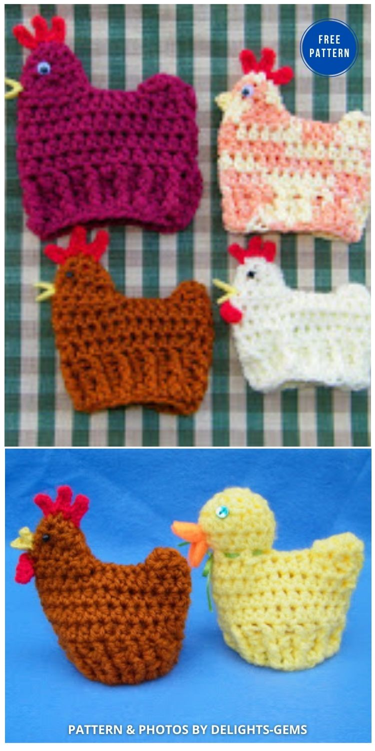 Crocheted Chicken and Duck Egg Cozies for Easter - 12 Easy Easter Egg Warmer Crochet Patterns
