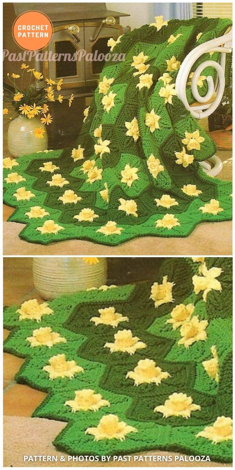 Daffodil Flower Hexagon Granny Square - 10 Unique Spring Flower Blankets Crochet Patterns (1)