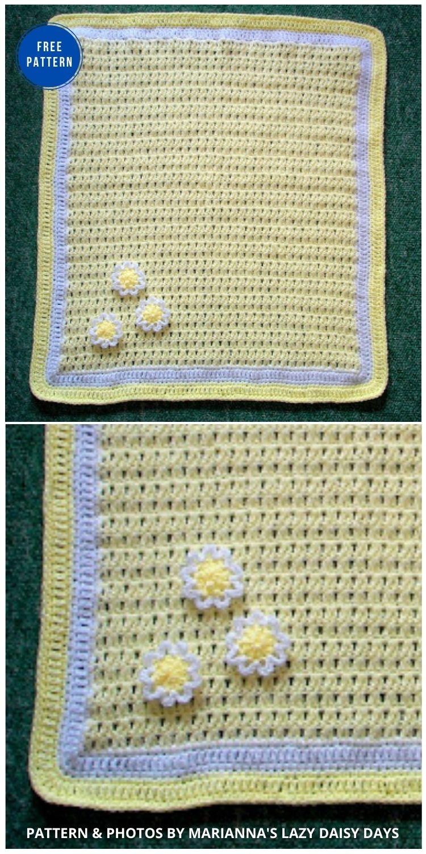 Daisy Baby Blanket - 15 Free Yellow Baby Blanket Crochet Patterns