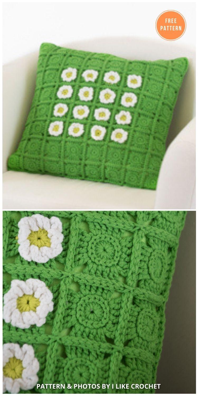 Daisy Bloom Pillow - 14 Free Crochet Spring Pillow Patterns (1)
