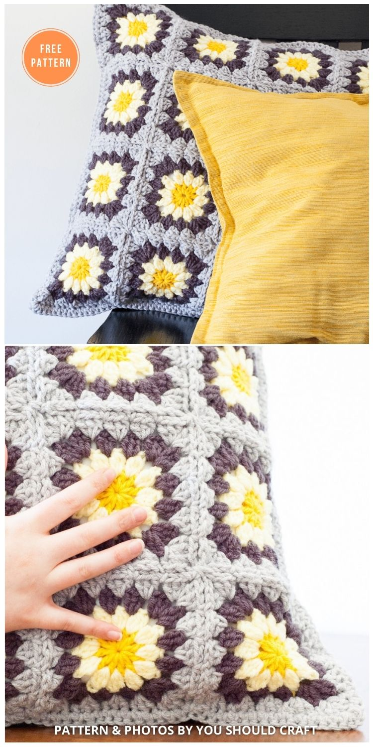 Daisy Granny Square Pillow - 14 Free Crochet Spring Pillow Patterns