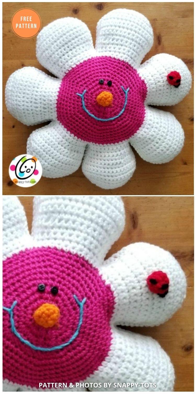Daisy Pillow - 14 Free Crochet Spring Pillow Patterns