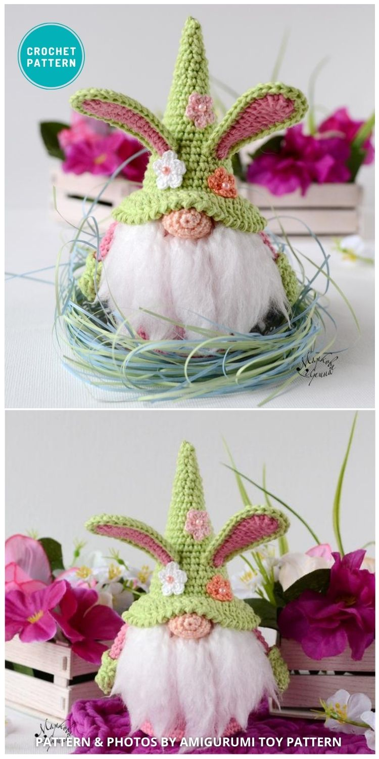 Easter Bunny Gnome - 8 Gorgeous Spring Easter Gnomes Crochet Patterns