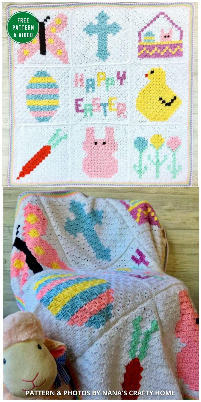 Easter C2C Blanket free crochet pattern CAL Part 10 Joining & Border - 12 Gorgeous Free Easter Blanket Crochet Patterns