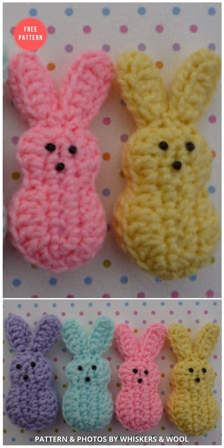 Easter Marshmallow Bunnies - 8 Free Crochet Easter Peep Patterns