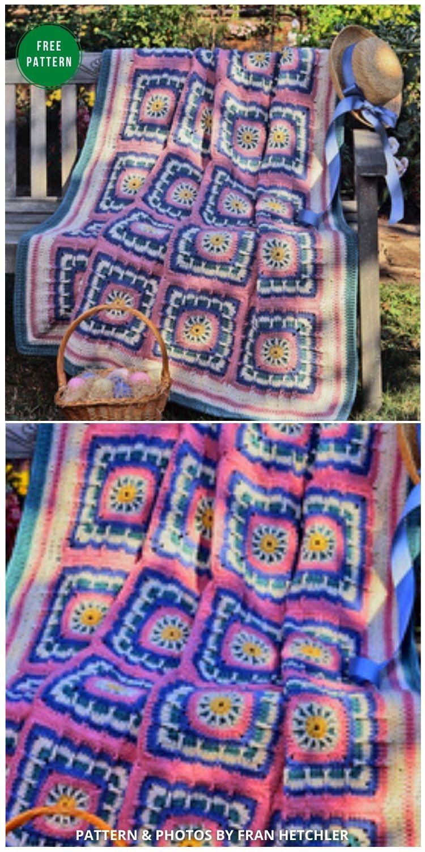 Eye-catching Easter Afghan _ Easter Basket - 12 Gorgeous Free Easter Blanket Crochet Patterns