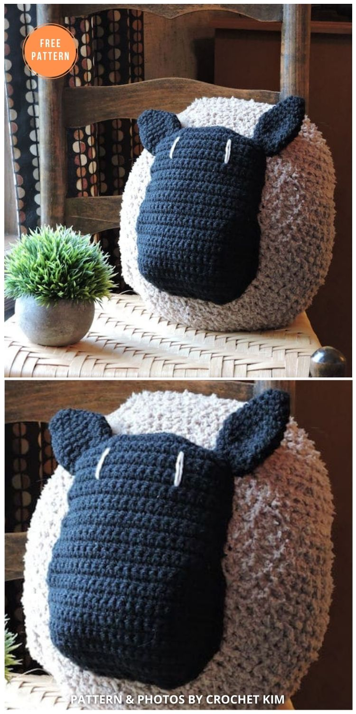 Farmhouse Love My Sheep Pillow - 14 Free Crochet Spring Pillow Patterns