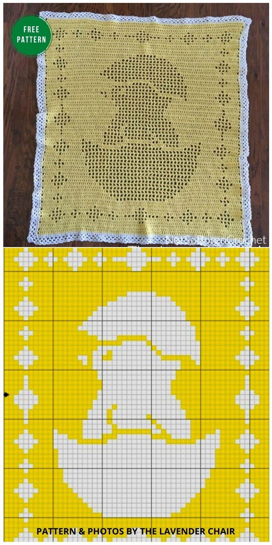 Filet Chick Baby Blanket Crochet Pattern - 12 Gorgeous Free Easter Blanket Crochet Patterns