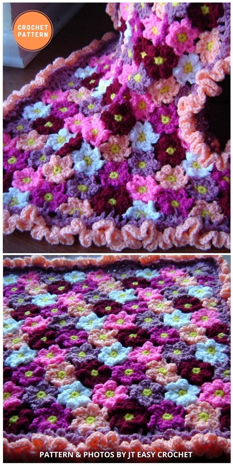 Flower Baby blanket afghan throw - 10 Unique Spring Flower Blankets Crochet Patterns