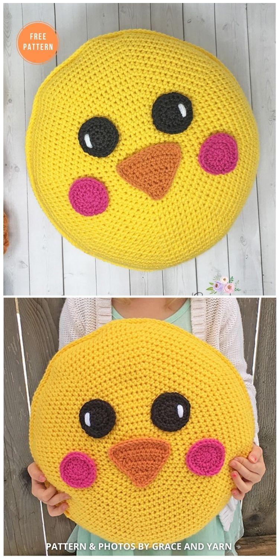 Free Crochet Chick Pillow Pattern - 14 Free Crochet Spring Pillow Patterns