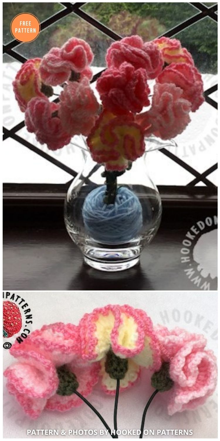 Free Crochet Flowers Pattern For Carnations - 12 Beautiful Spring Flower Crochet Patterns