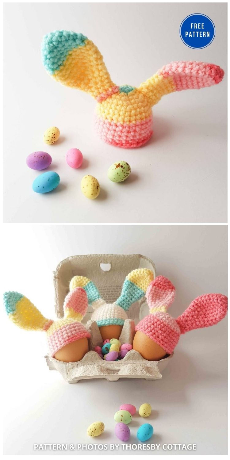Free Egg Cosy Crochet Pattern_ Easter Bunny Ears - 12 Easy Easter Egg Warmer Crochet Patterns