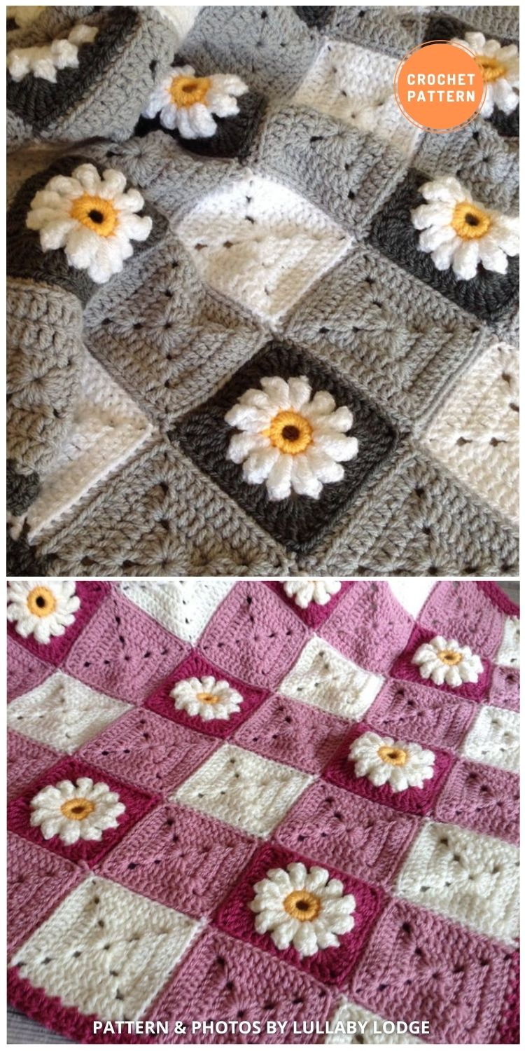 Gingham & Daisies Crochet Granny Squares Baby Blanket - 10 Unique Spring Flower Blankets Crochet Patterns