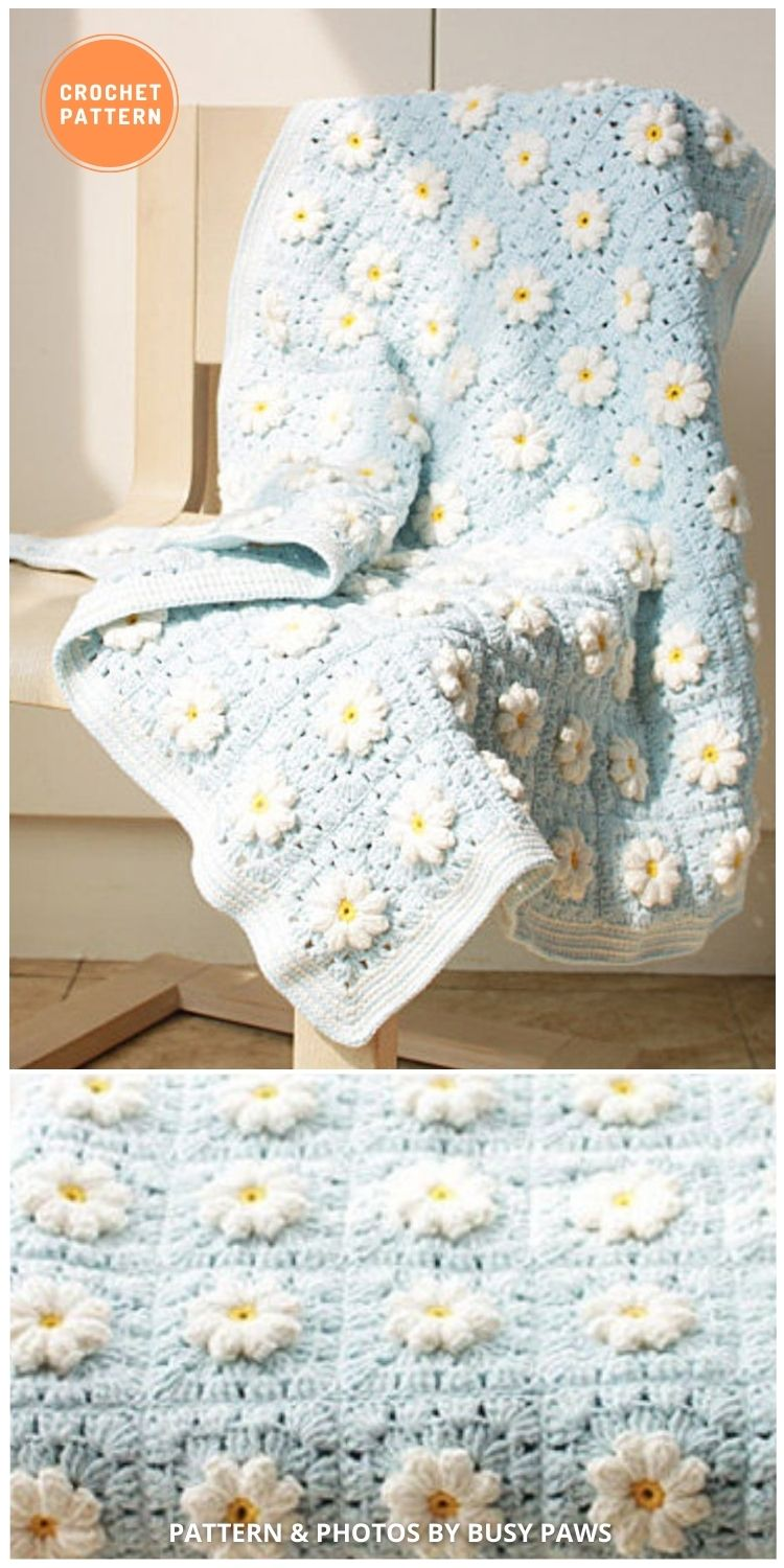 Marguerite Daisy Blanket - 10 Unique Spring Flower Blankets Crochet Patterns