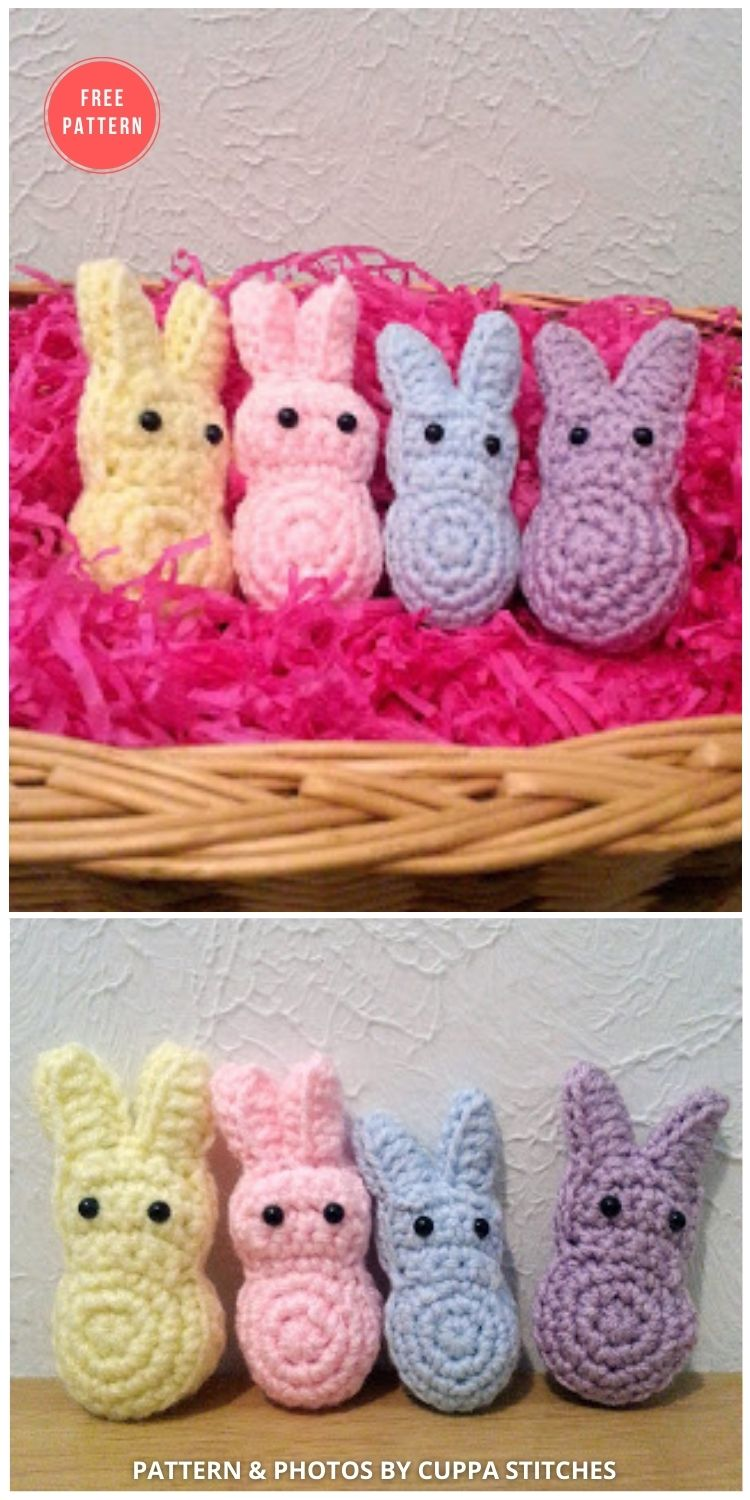Marshmallow Easter Bunnies - 8 Free Crochet Easter Peep Patterns