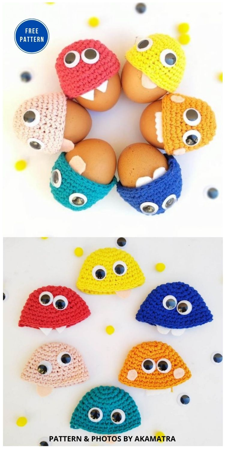Monsters Egg Cozy Crochet Pattern - 12 Easy Easter Egg Warmer Crochet Patterns