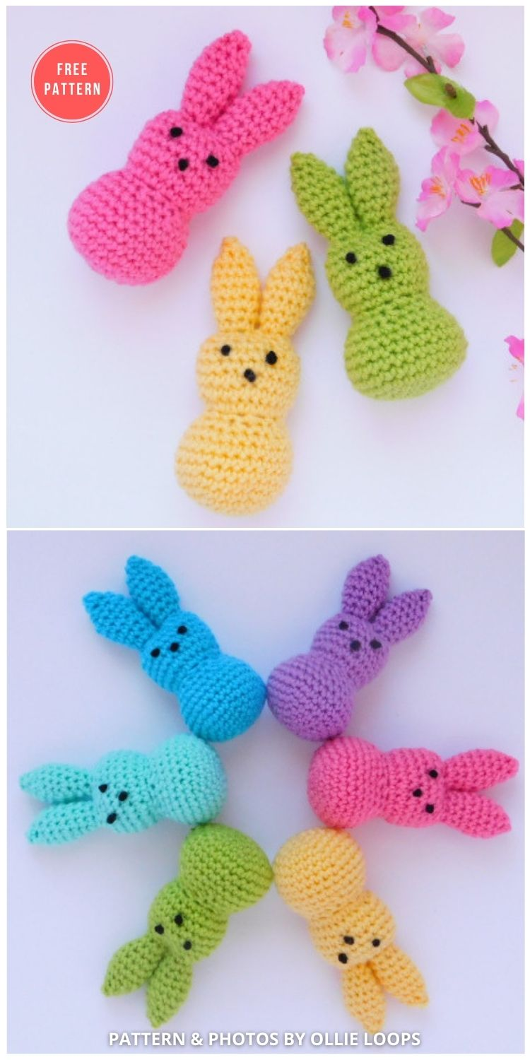 Ollie Loop's Spring Bunnies - 8 Free Crochet Easter Peep Patterns