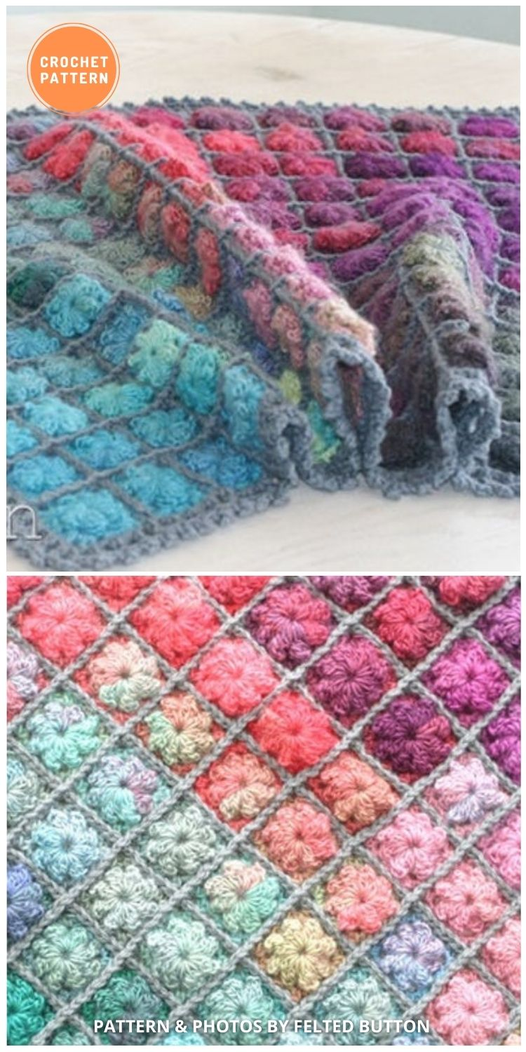 Painted Pixels, Baby Blanket - 10 Unique Spring Flower Blankets Crochet Patterns