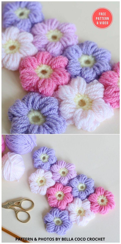 Puff Flower - 12 Beautiful Crochet Flower Stitches For Blankets