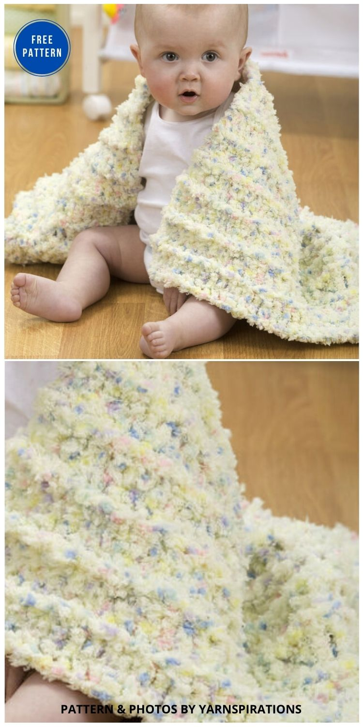 Red Heart Coziest Baby Blanket Ever - 15 Free Yellow Baby Blanket Crochet Patterns