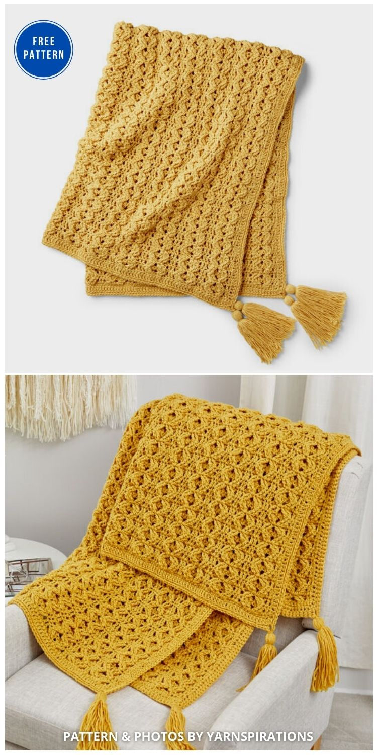 Red Heart Golden Waves Throw - 15 Free Yellow Baby Blanket Crochet Patterns