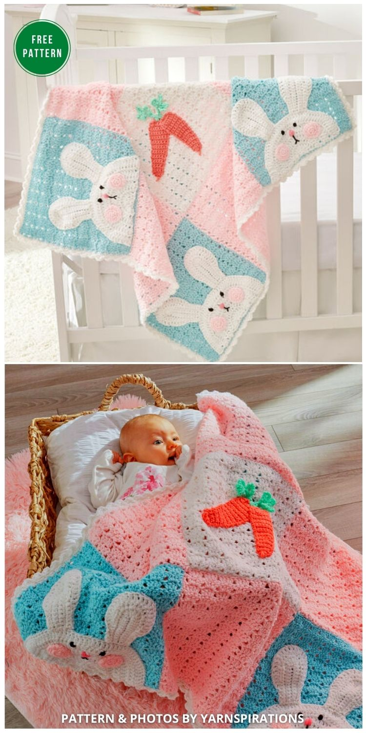 Red Heart Luv My Bunny Blanket - 12 Gorgeous Free Easter Blanket Crochet Patterns