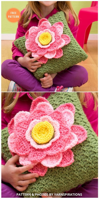 Red Heart Spring Fling Pillow - 14 Free Crochet Spring Pillow Patterns