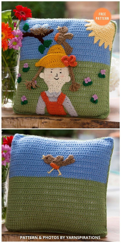 Red Heart Spring Has Sprung Pillow - 14 Free Crochet Spring Pillow Patterns