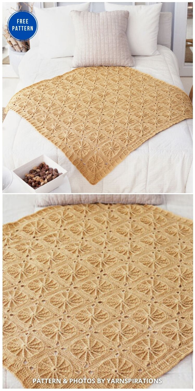 Red Heart Sunny Spread Throw - 15 Free Yellow Baby Blanket Crochet Patterns