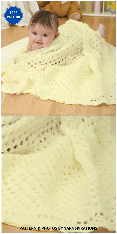 Red Heart Sunshine Baby Blanket - 15 Free Yellow Baby Blanket Crochet Patterns