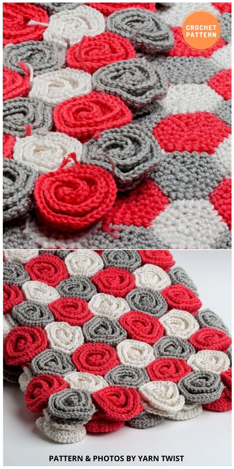_Rose Field Blanket - 10 Unique Spring Flower Blankets Crochet Patterns