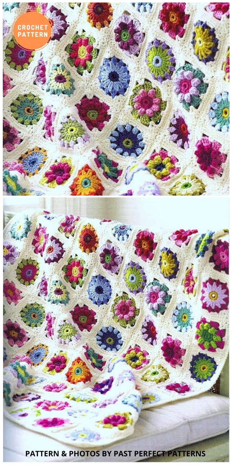 Roses and Daisies Floral Granny Square Throw Afghan Blanket - 10 Unique Spring Flower Blankets Crochet Patterns