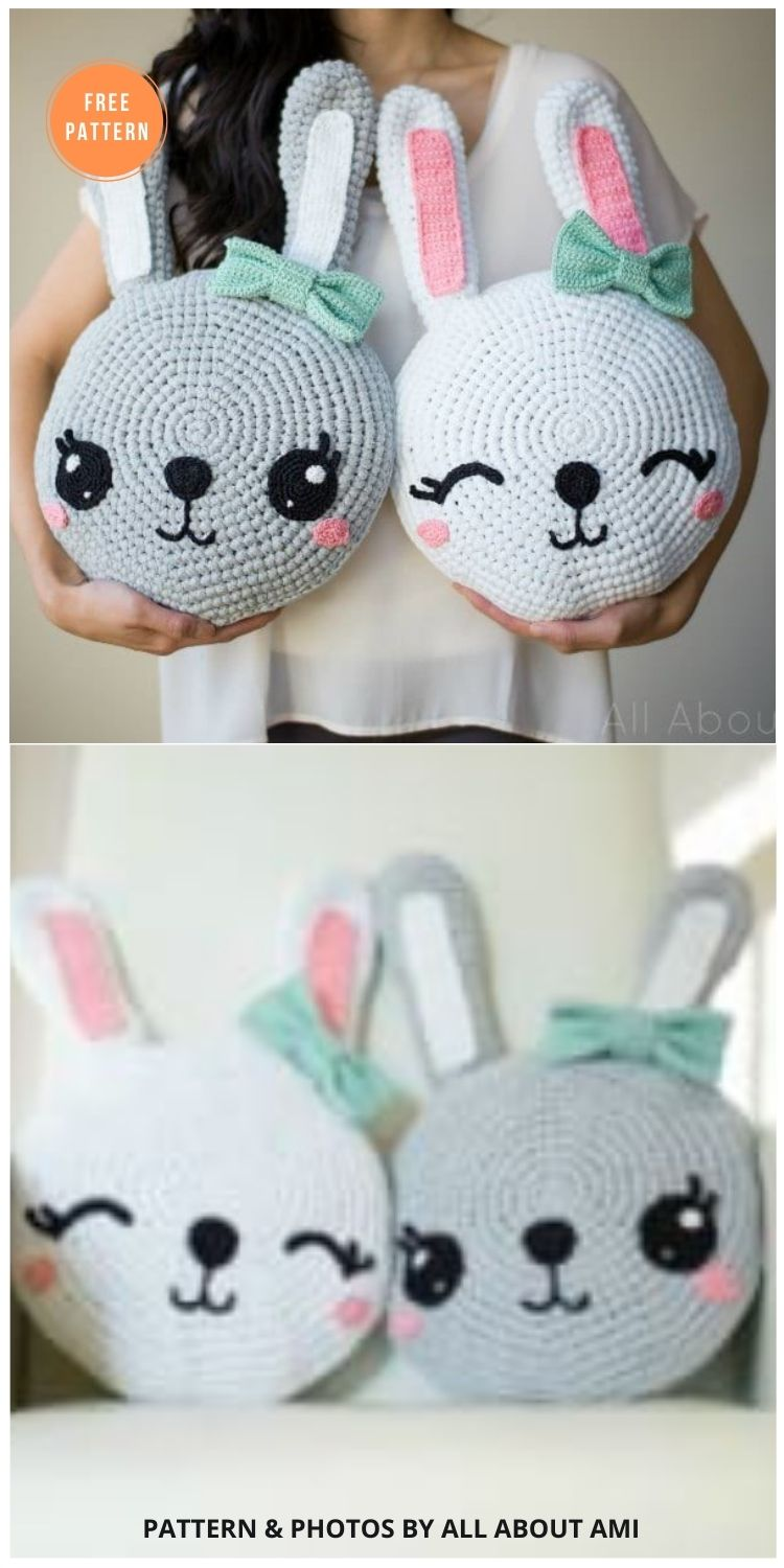 Snuggle Bunny Pillows - 14 Free Crochet Spring Pillow Patterns