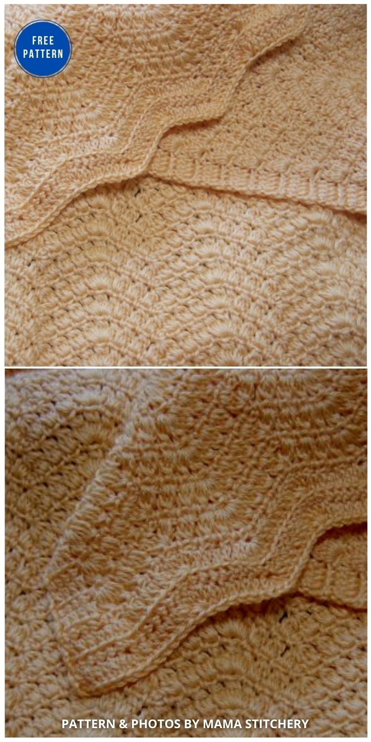 Soft Clusters Ripple Afghan - 15 Free Yellow Baby Blanket Crochet Patterns