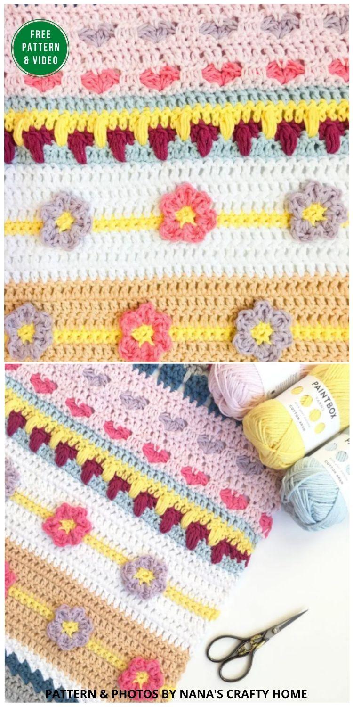 Spring Rhapsody Blanket CAL Part 3 Free Crochet Pattern - 12 Gorgeous Free Easter Blanket Crochet Patterns