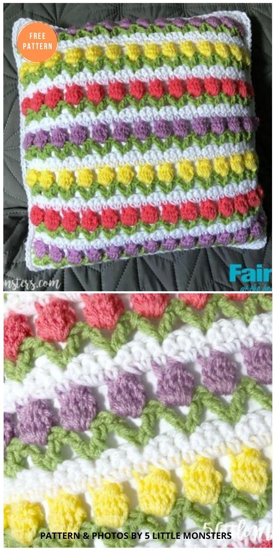 Spring Tulips Crochet Pillow - 14 Free Crochet Spring Pillow Patterns
