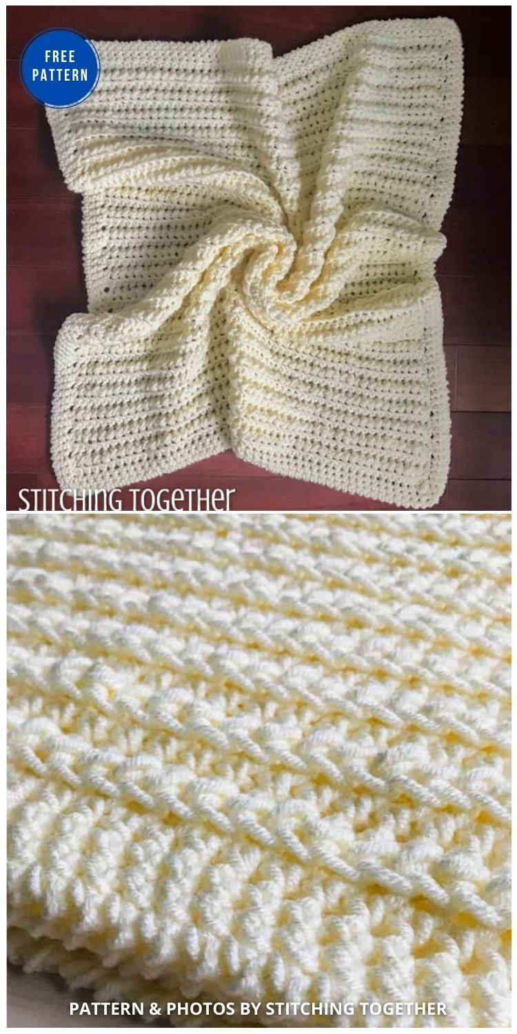 Squishy and Chunky Crochet Baby Blanket - 15 Free Yellow Baby Blanket Crochet Patterns
