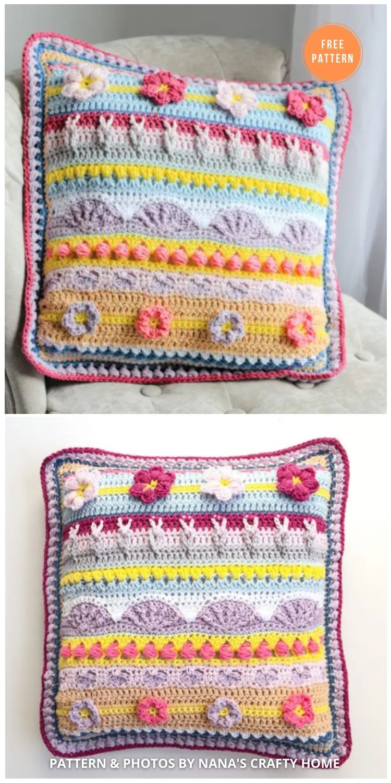 Stitch Sampler Spring Rhapsody Pillow - 14 Free Crochet Spring Pillow Patterns