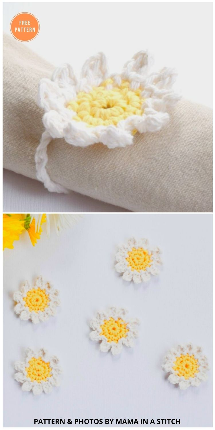 Sweet Daisies – Free Flower Crochet Pattern - 12 Beautiful Spring Flower Crochet Patterns