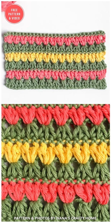 Triads Puff Flower - 12 Beautiful Crochet Flower Stitches For Blankets