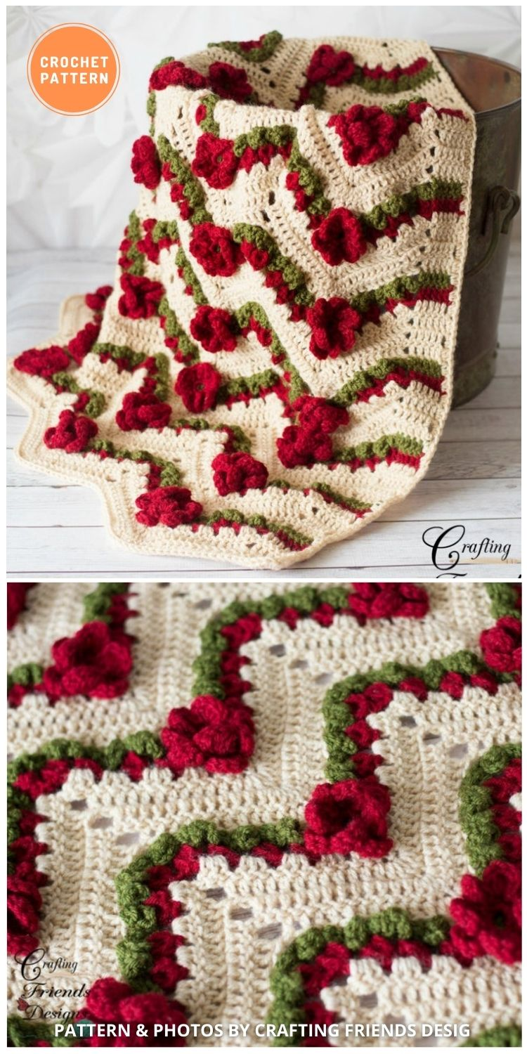 _flower Chevron Blanket - 10 Unique Spring Flower Blankets Crochet Patterns