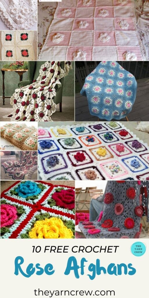 10 Free Crochet Patterns For Rose Afghans - PIN3